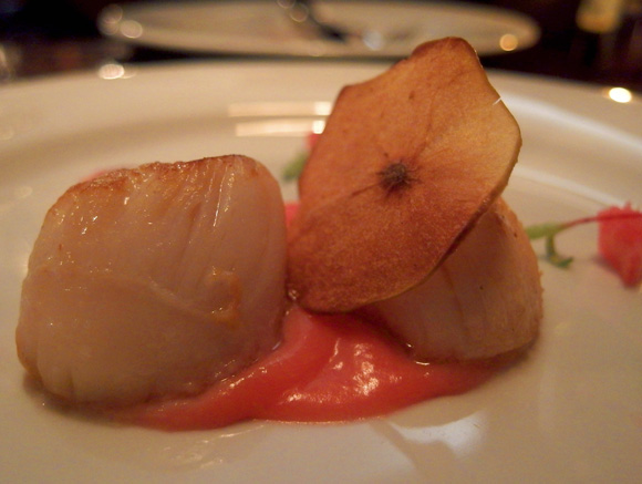 Ethical Shellfish Company Hand Dived Scallops, Rhubarb Pickle & Apple Crisp