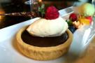 Milk Chocolate Tart with Pistachio Ice Cream and Raspberries