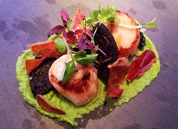 Alston Bar & Beef- Pan Fried Scallops with pea puree, Parma ham & black pudding