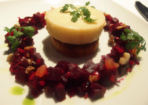Goats cheese fondant with beetroot salsa, caramelised walnuts and toasted brioche