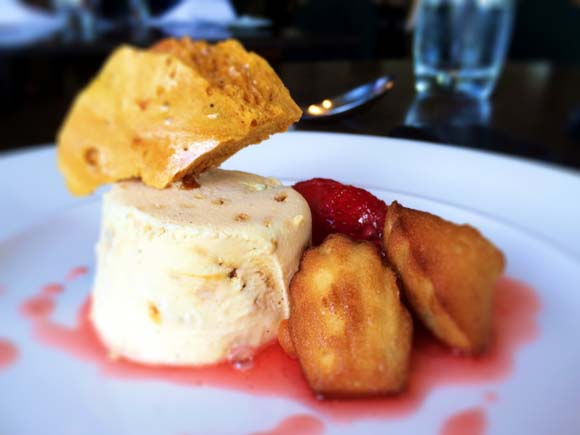 Iced Honeycomb Parfait with Strawberries and Lemon Madeleines