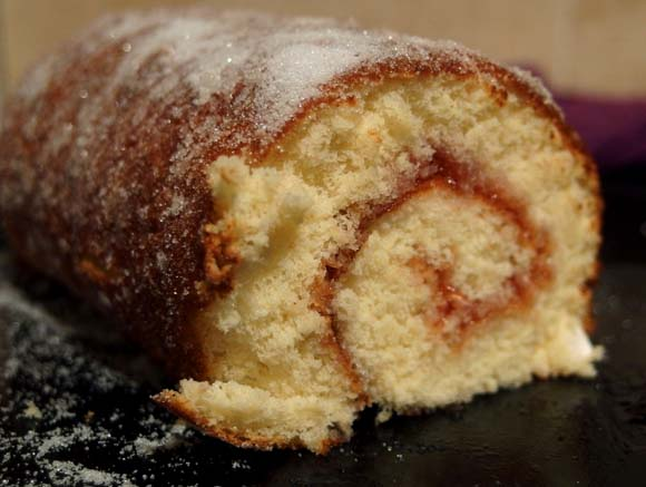Swiss Roll with Strawberry Jam