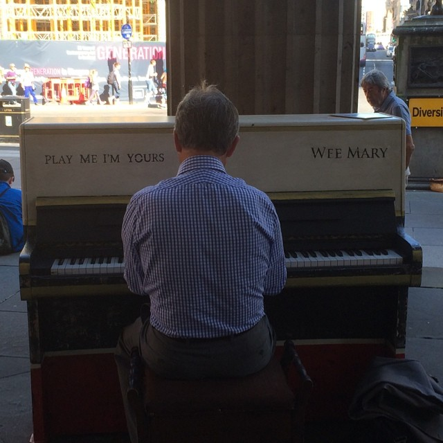 This guy is lost in his own little world playing the public piano :)