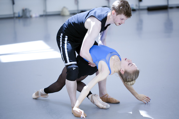 Andrew Peasgood and Constance Devernay in rehearsals for Helen Pickett's world premiere, The Crucible. Photo by Christina Riley