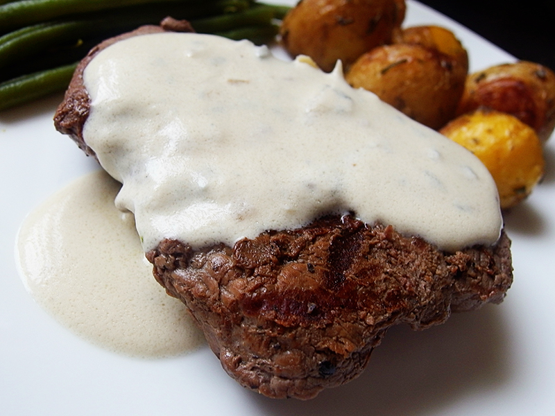 Donald Russell- Pave Rump Steak with Gorgonzola Sauce