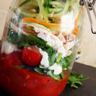 Lemon Pepper Chicken Salad with Tri-Color Noodles- Jar closeup