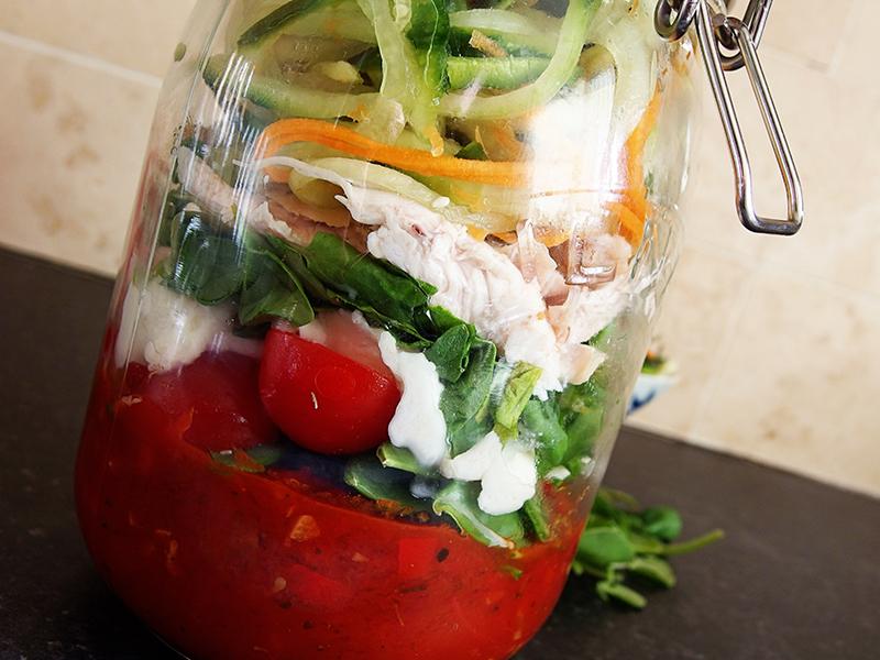 Lemon Pepper Chicken Salad with Tri-Color Noodles- Jar closeup
