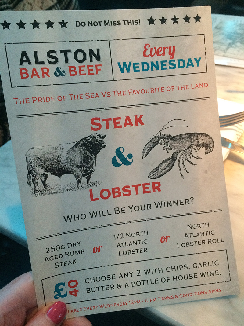 Alston Bar & Beef- Steak & Lobster Wednesdays