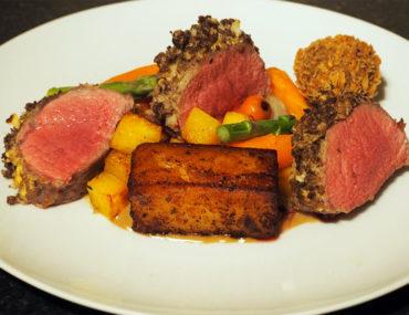 Ananyah-Burns Supper-Haggis Crusted Lamb Loin, Fondant Potato, Haggis Bon Bon and Vegetables